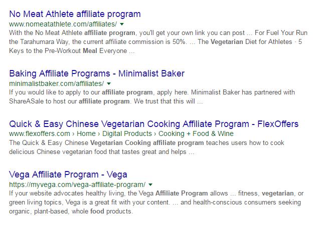 affiliate programs vegetarian