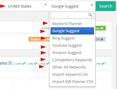 KeySearch options