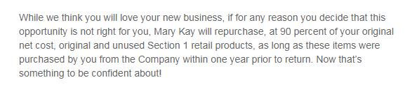 mary kay inventory return
