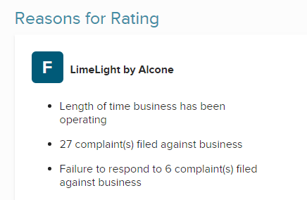 limelight bbb rating