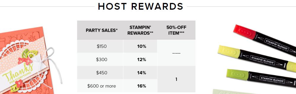 stampin up host rewards